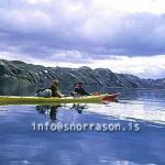 Outdoor life stock photography. On-line image galleries of travellers kayaking, hiking, fishing and on glaciers in Iceland. Blue